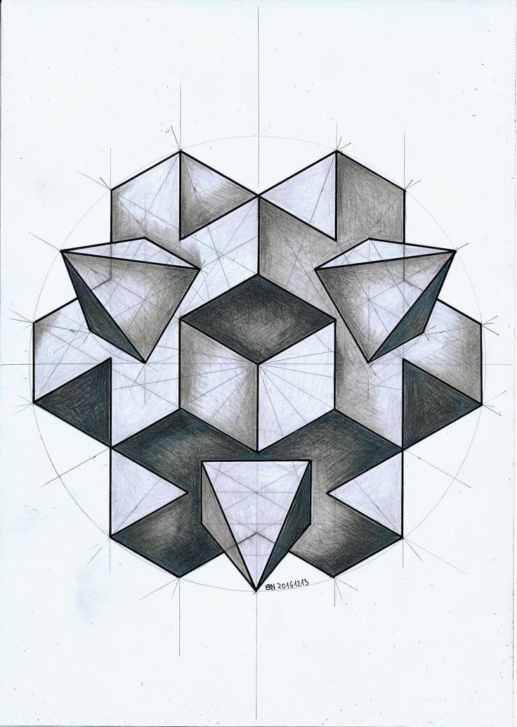 #solid #polyhedra #geometry #symmetry #handmade #pencil #mathart #regolo54 #Escher #hexagon #circle