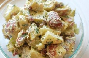Jessie's Famous, Outrageous, Delicious Potato Salad from Get a Fresh Start, wholefood mayo and organic ingredients.