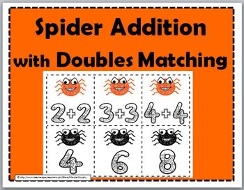 Free Spider Addition With Doubles Matching Game