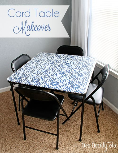 card table makeover --- UPDATE --- I ended up using a vinyl table cloth to recover a card table I had. It was hard to get the cover flat and the heel of my hand got sore from all the staples, but over all - such an improvement!