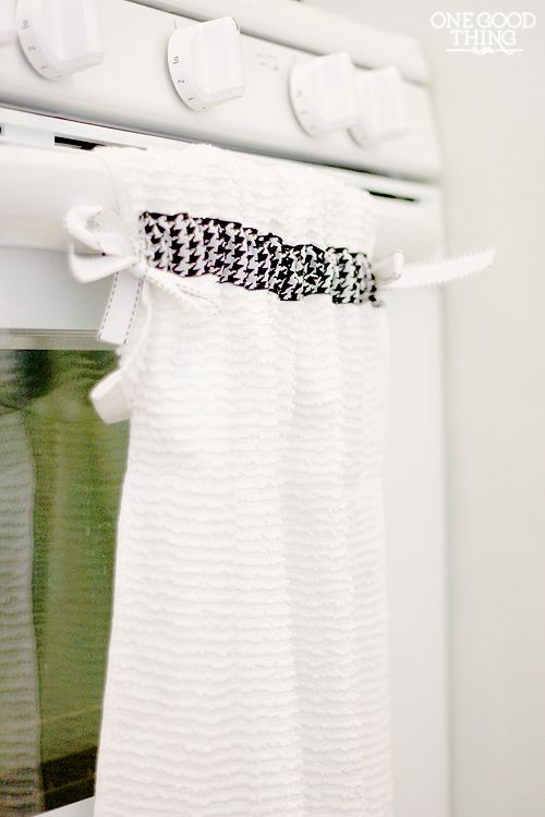 An easy project for a cute hanging dish towel!