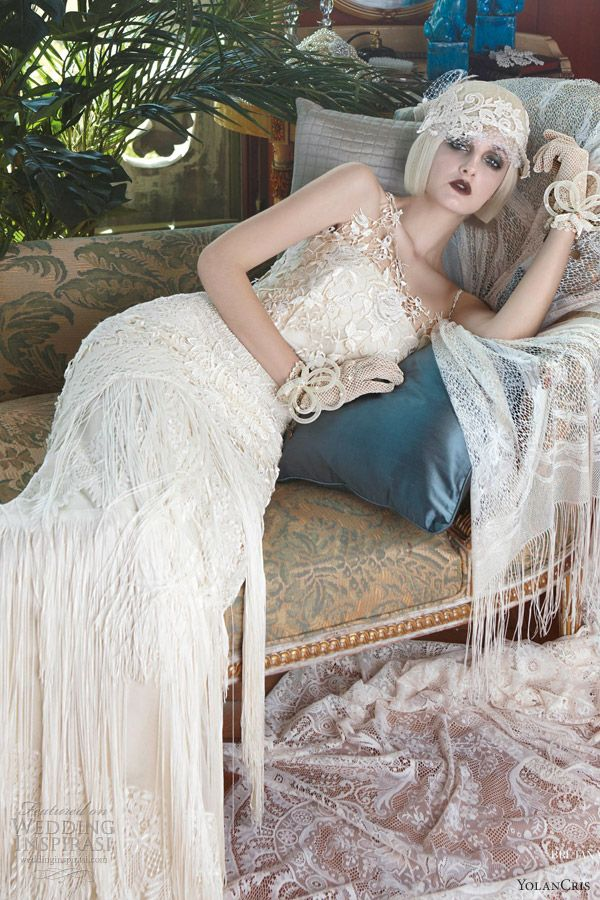 yolan cris 2013 mademoiselle vintage dresses bretana. Pretty 1920s inspired dress.  This would look so cute at a white summer linen night (AKA Dinner en blanc) event. <3