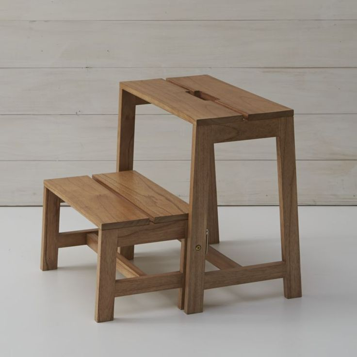 This stylish take on the step stool is crafted entirely of wood with a tapered shape and smart flip-down lower step design for compact storage.  Integrated cutout handle makes it easy to tote the stool from room to room. 100% mindi woodIntegrated cutout handleMaximum capacity: 400 lbs. Clean with a dry clothMade in Indonesia.