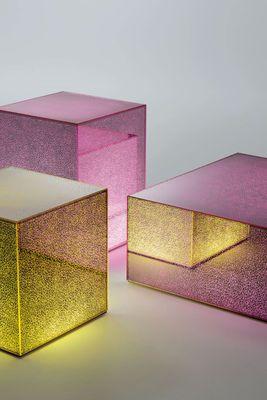 Table basse lumineuse Crack LED / 40 x 40 cm