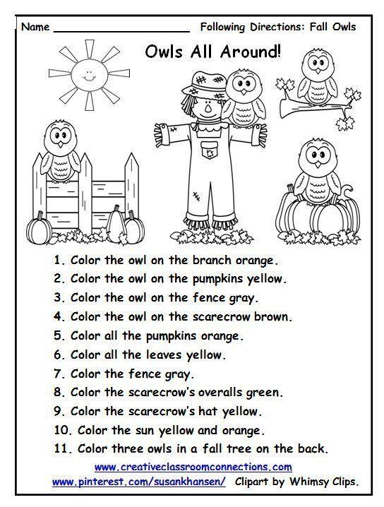 Follow Directions Worksheet Kindergarten Free Following Directions Follow Directions Worksheet Following Directions Worksheets Following Directions Activities