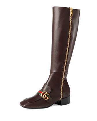 Peyton+Leather+Knee+Boot,+Brown+by+Gucci+at+Neiman+Marcus.