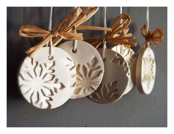 Modern snowflake ornaments-Set of 5, white ceramic, pearl painted.. €22.00, via Etsy.