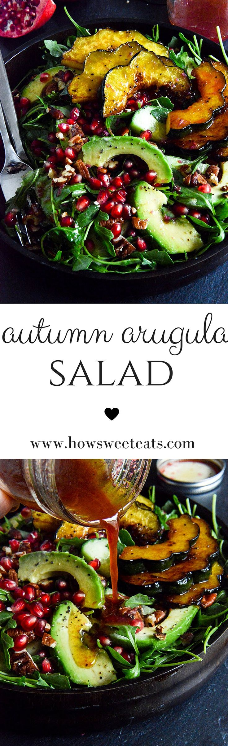 Autumn Arugula Salad with Caramelized Squash, Spiced Pecans and Pomegranate…