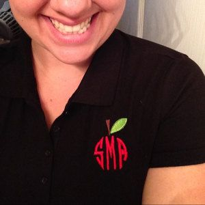 Buyer photo Shannon, who reviewed this item with the Etsy app, made the perfect teacher apple monogram tee using the Apple Monogram Dressing by Original Stitches.