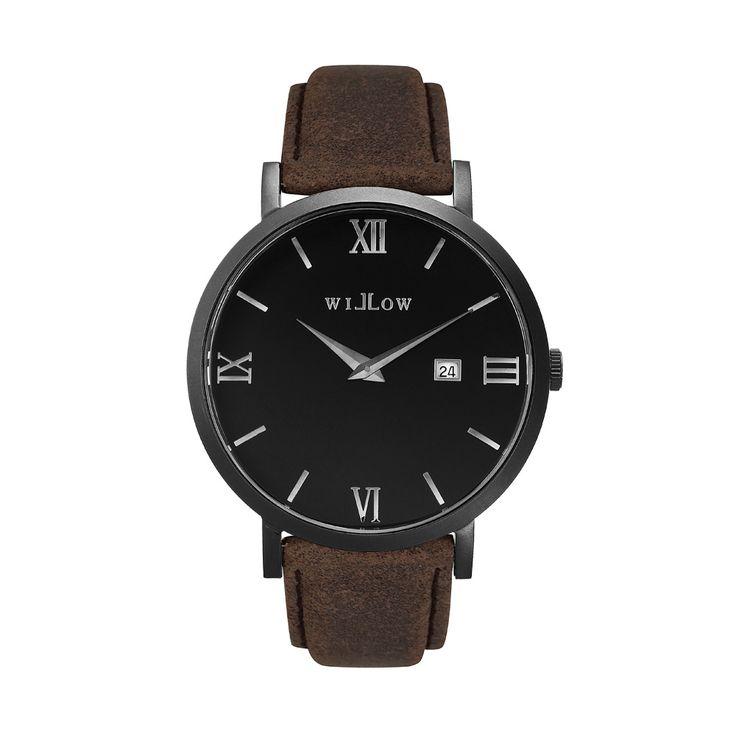 Verona Matte Black Watch & Interchangeable Brown Leather Strap.