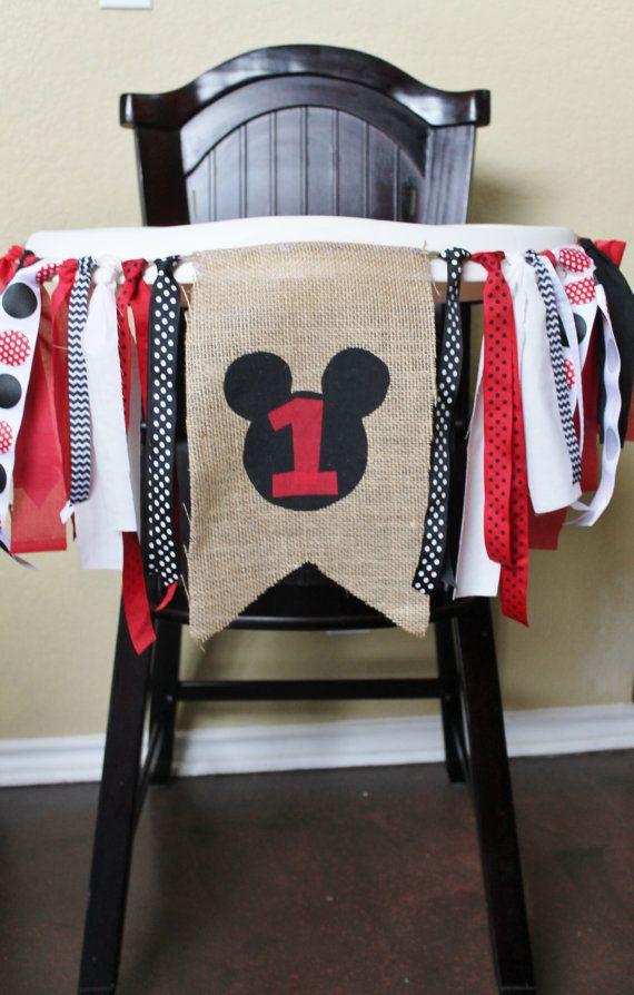 Mickey Mouse Birthday Garland, High Chair Garland, High Chair Banner
