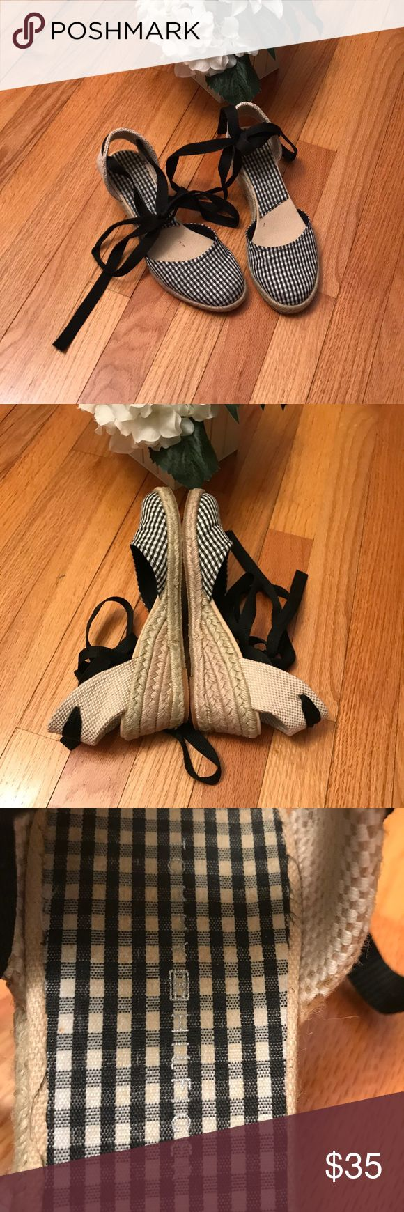 "TOMMY HILFIGER: Ballerina Picnic Wedges! How cute are these?  With wrap straps that can be worn in multiple bow tied styles, wear these with cigarette jeans or a simple white or black dress.  2"" wedge heels and canvas fabric. Tommy Hilfiger Shoes Wedges"