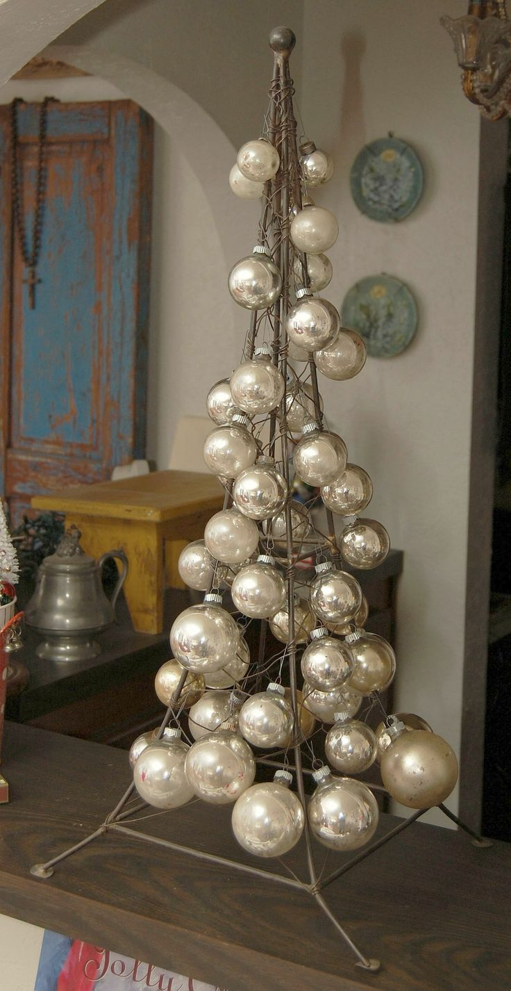 Eiffel tower christmas tree ornament - My Eiffel Tower Decorated With Vintage Mercury Glass Ball Ornaments