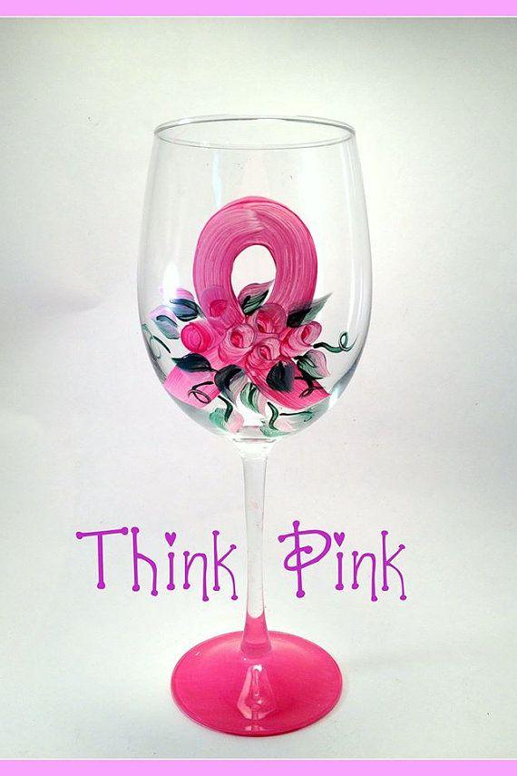 Pink Ribbon Wine Glass Breast Cancer Survivor Wine Glass