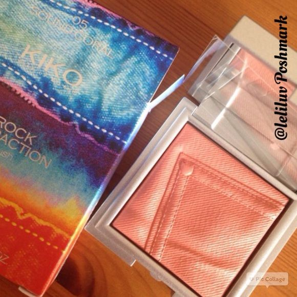 KIKO • Rock Attraction powder blush in Sound Coral NWT, only opened for pictures. KIKO make up Milano, 100% authentic powder blush in 05/Sound Coral. Limited Edition packaging, still has plastic protection / lawyer over blush, inside case (between blush and mirror). See embossing on blush, it's like a denim pocket, so cute! Never used or swatched. No trades, No PayPal. KIKO Milano Makeup Blush