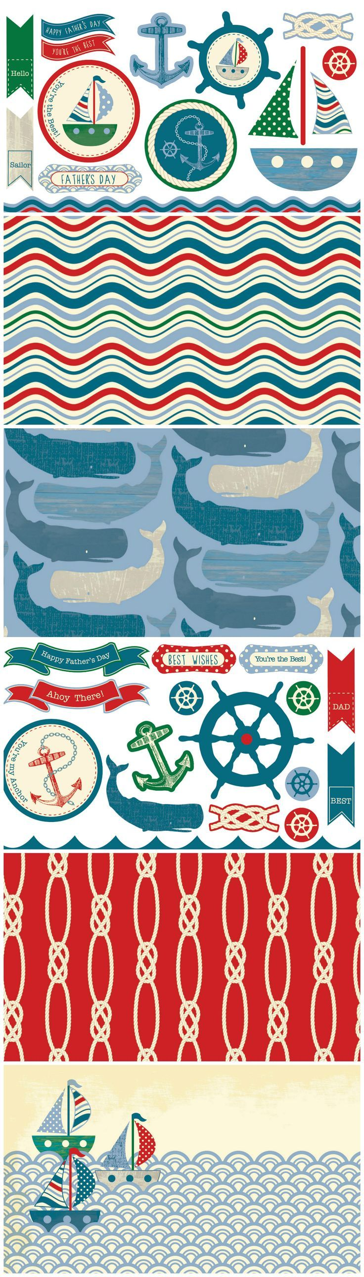 These free digital papers for card making are nautical but nice!