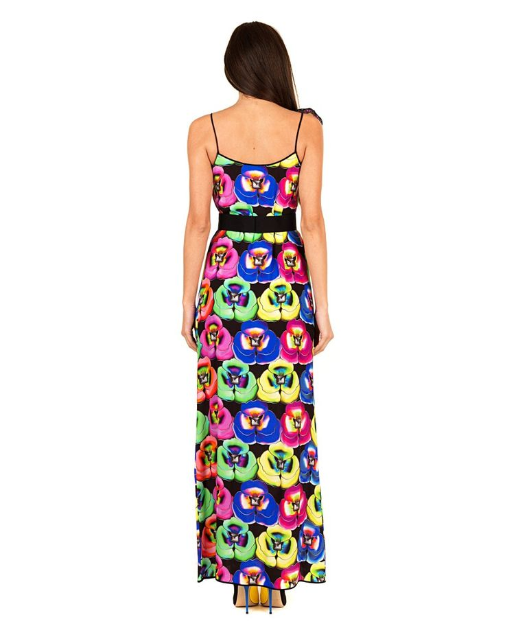 GILES Multicolour long dress floral pattern on black background suspenders on the shoulders and wide neckline removable sequin brooch and belt 100% VI  Embroidery: 100% PVC