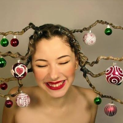 Show Christmas ornaments, but could use other lightweight things, or just do the hair (like Medusa)