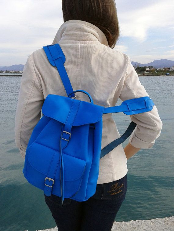 Handmade Blue Medium Leather Backpack one pocket by MagusLeather, €148.00