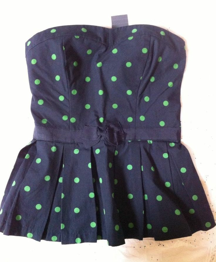 Abercrombie & Fitch Navy Smocked Strapless Bustier Cami Top Green Polka Dot S #AbercrombieFitch #KnitTop #Casual #Gift #WIshlist