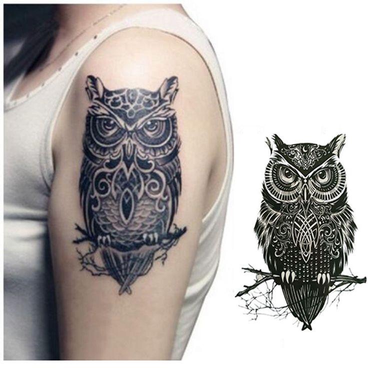 섹시한 남성 여성 방수 임시 문신 블랙 큰 올빼미 팔 문신 스티커