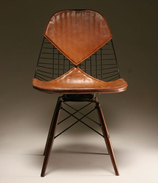 Charles Eames; #PKW Birch Dowel Wire Chair with Postman's Bag Leather 'Bikini' Pad, 1952.