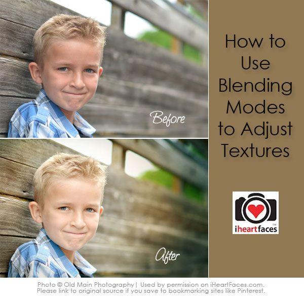 Using Blending Modes in Photoshop to Adjust Textures - Photo Editing Tutorial via iHeartFaces.com