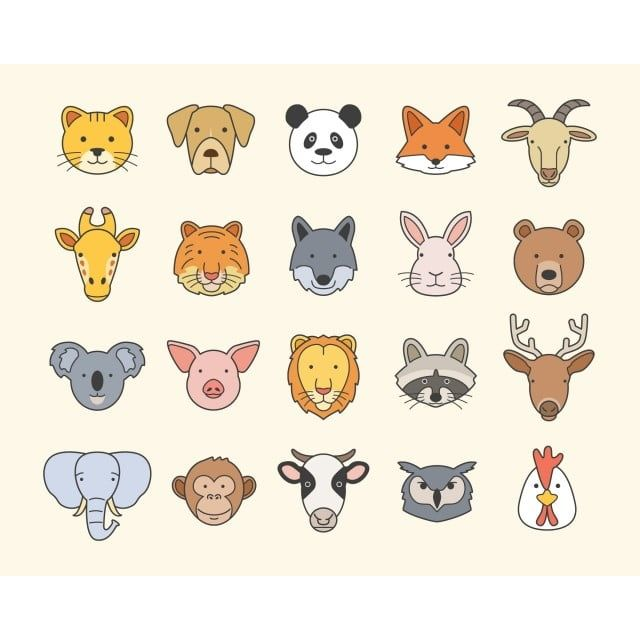 Set Of Cute Animal Head Icons Cute Clipart Zoo Animals Animal Png And Vector With Transparent Background For Free Download Animal Clipart Animal Icon Cute Animals
