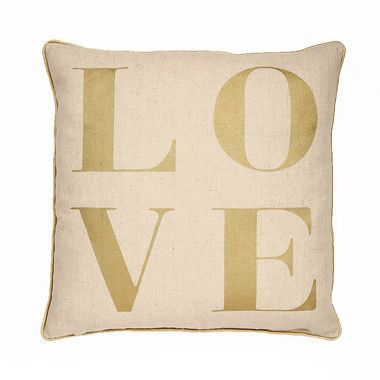 "LOVE"""" Typography Throw Pillow in Metallic Gold"