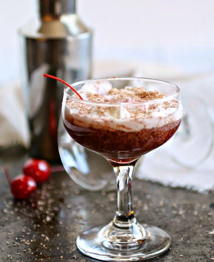 The Black Forest Martini: 2 parts Vanilla vodka, 1/2 part Chocolate liqueur, 1/2 part Creme de Cacao, 2 Teaspoons cherry preserves,  whipped cream and shaved chocolate for garnish.