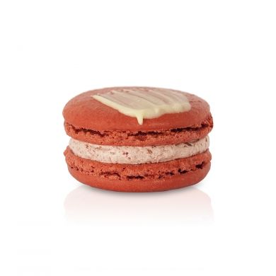 Sour Cherry & Vanilla Macaron. A tart cherry buttercream, warmed with tahitian vanilla