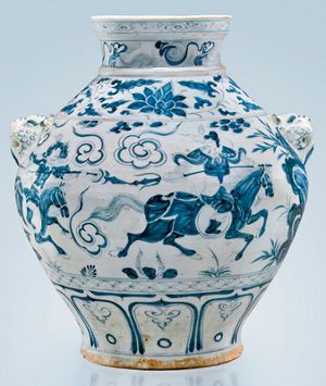 Stunning 14th century Yuan Dynasty jar headlines I. M. Chait Asia Week auction. Magnificent and highly important 14th-century Yuan Dynasty blue and white ovoid porcelain jar with narrative scene from the Yuan zaju drama 'The Savior Yuchi Gong.'
