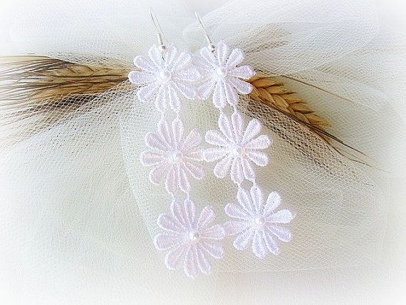 White lace flower earrings long lace earrings by MalinaCapricciosa, $9.50