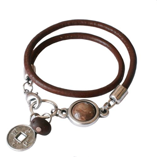 Cool!!! BonBon leather bracelet LA50, bruin