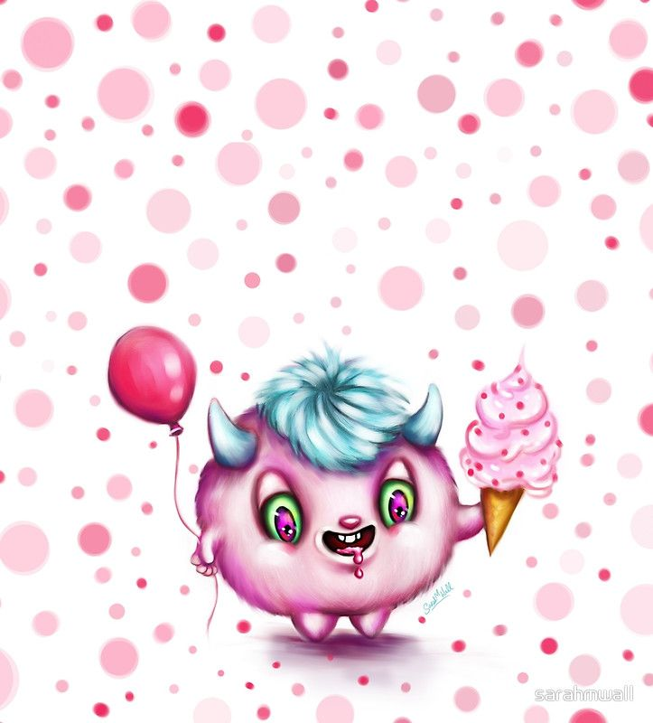 I love cute little monsters and ice-cream cones with sprinkles, so I thought I'd combine the two in a painting.  And here it is... my Ice Cream Monster in Pink.  Hope you like this happy little devil! ;-)  He's available over at my art gifts store http://sarahmwall.redbubble.com  - Art & Illustration © Sarah M Wall 2017.