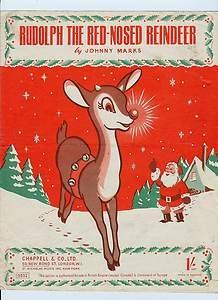 Vintage Sheet Music Rudolph Red Nosed Reindeer 1949 Ephemera Christmas Deer Art | eBay