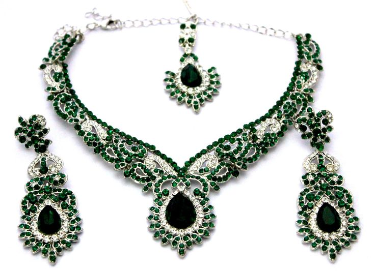 Indian Jewelry Silver Polished Emerald Green + White Austrian Crystals Choker Necklace Set with Earrings Tikka by Nostalgicpearls on Etsy