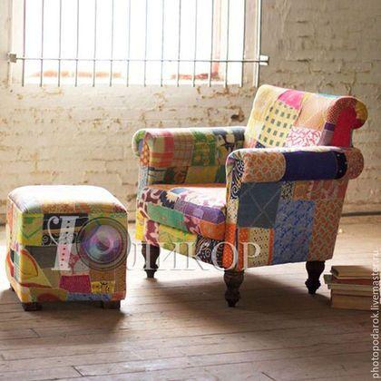 Мебель ручной работы. Ярмарка Мастеров - ручная работа. Купить Лоскутное кресло.. Handmade. Комбинированный, КРЕСЛО-КАЧАЛКА, пуф