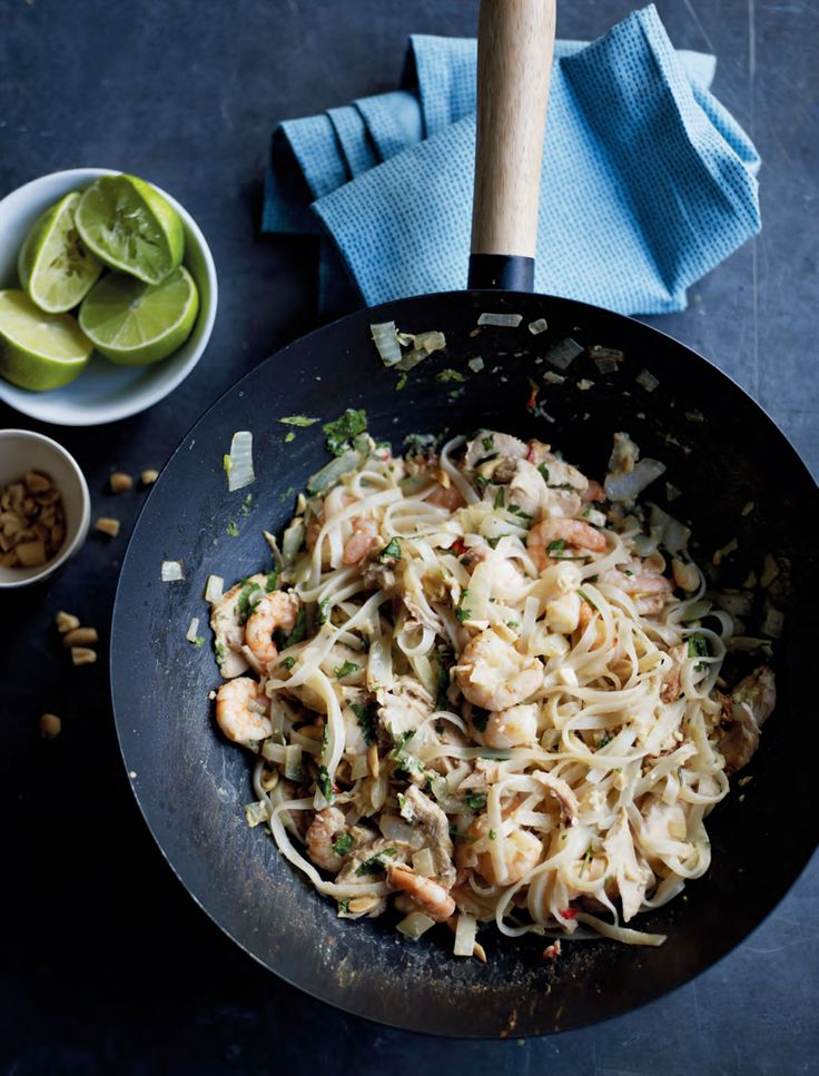 Chicken & prawn pad thai recipe from Fast Cooking by James Martin | Cooked