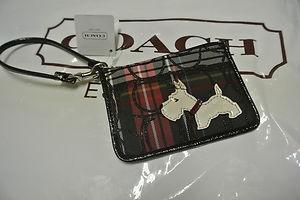 ♥ Coach 48073 SIS Tartan Scottie Dog ID Skinny Wallet Wristlet   eBay