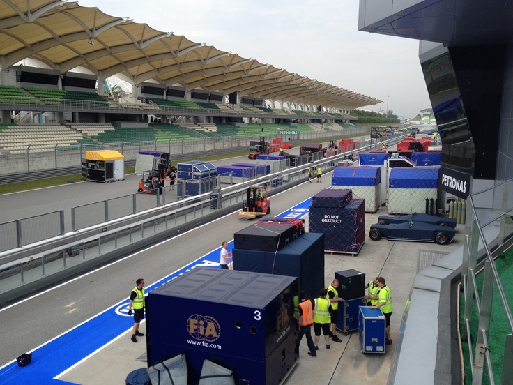 The F1 Teams starting to move in at Sepang International Circuit, Malaysia.