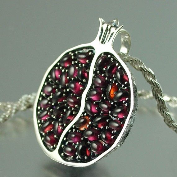 Silver Pomegranate pendant! Beautiful use of cabochon garnets.: Silver Earrings, Silver Necklaces, Garnet Pendants, Pomegranates Pendants, Pomegranates Necklaces, Silver Garnet, Seeds, Pomegranate Pendants, Juicy Pomegranates