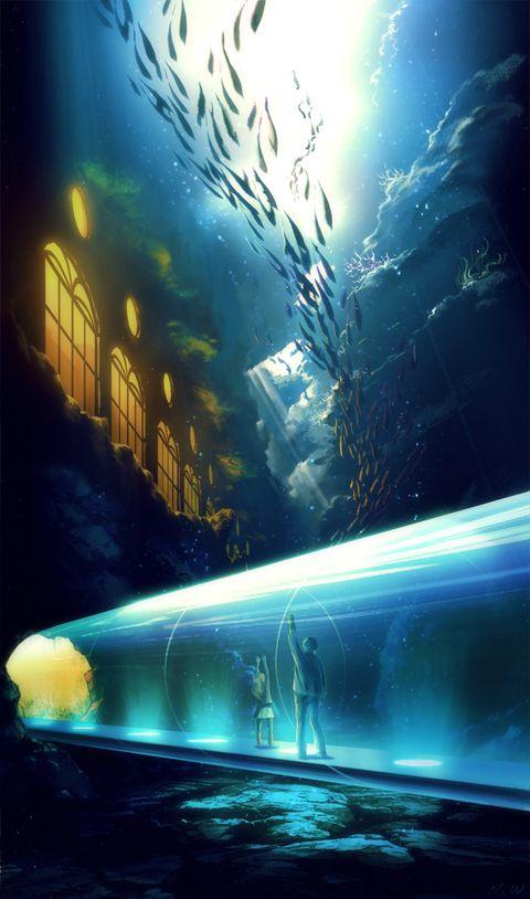子供の頃行った海底にある水族館がすごくいいところで!……こんなところないけれど…暗すぎないちょうどいい深さにある水族館の妄想絵。デイリー4位、オリジナル3位本当にありがとうございます!!