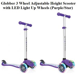 Check Globber 3 Wheel Adjustable Height Scooter with LED Light Up Wheels (Purple/Star), the attractive, strong, and secure flexible scooter.