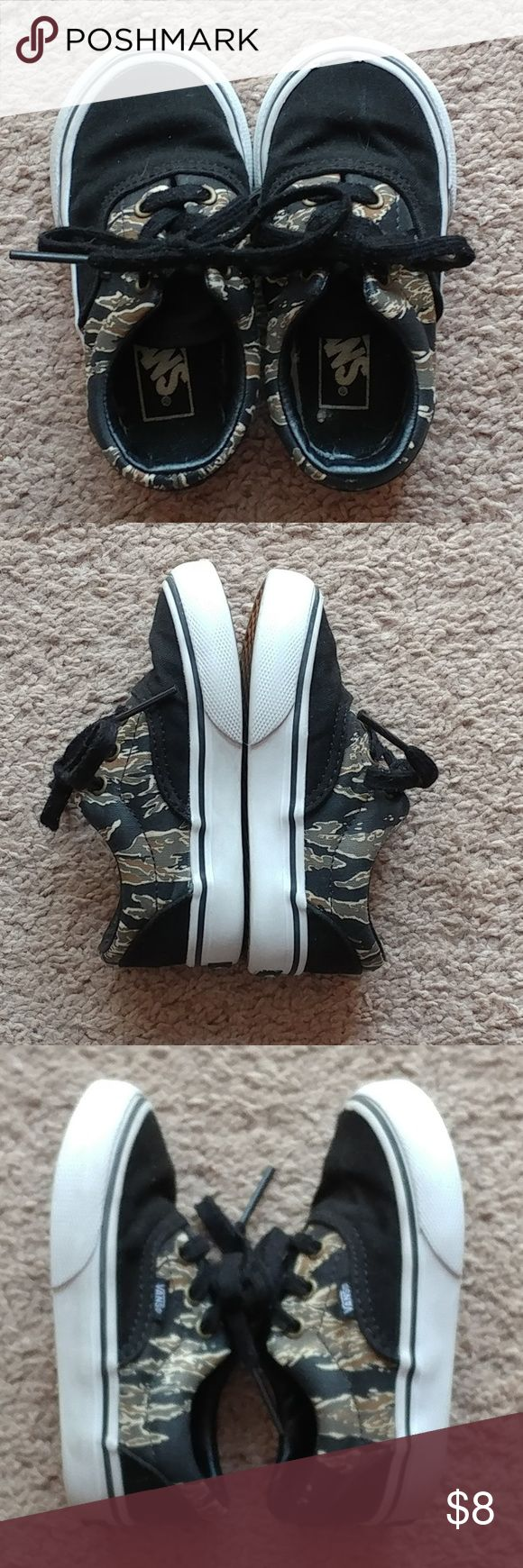 """Toddler Boys Vans tennis shoes Pre-owned. Black/camo. Small issue with trim on right shoe at the top. 6"""" from toe to heel. Vans Shoes Sneakers"""