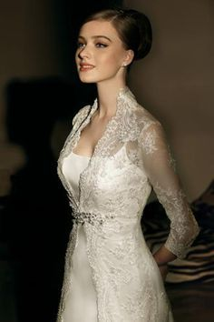 high back collar low neckline long sleeve wedding dresses - Google Search