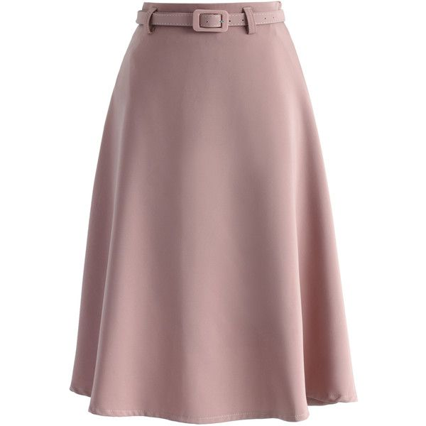 Chicwish Savvy Basic Belted A-line Skirt in Pink ($42) ❤ liked on Polyvore featuring skirts, pink, a line skirt, knee length a line skirt, pink skirt, red a line skirt and red skirt