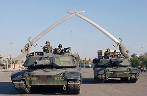 """For events before May 1, 2003, see Timeline of the 2003 invasion of Iraq.  [show] v t e  Iraq War  [show] v t e  Persian Gulf Wars      M1A1 Abrams pose for a photo under the """"Hands of Victory"""" in Ceremony Square, Baghdad, Iraq.  See also: 2003 in Iraq, 2004 in Iraq, 2005 in Iraq, 2006 in Iraq, 2007 in Iraq, 2008 in Iraq, 2009 in Iraq,and 2010 in Iraq  The following is a timeline of major events during the Multinational Force's Occupation of Iraq, following the 2003 invasion of Iraq."""