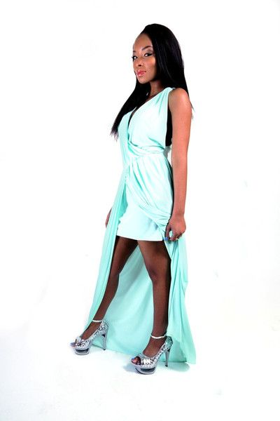 Green Maxi Dress with Criss Cross Back and Front Slit - SLAY Boutique  - 1