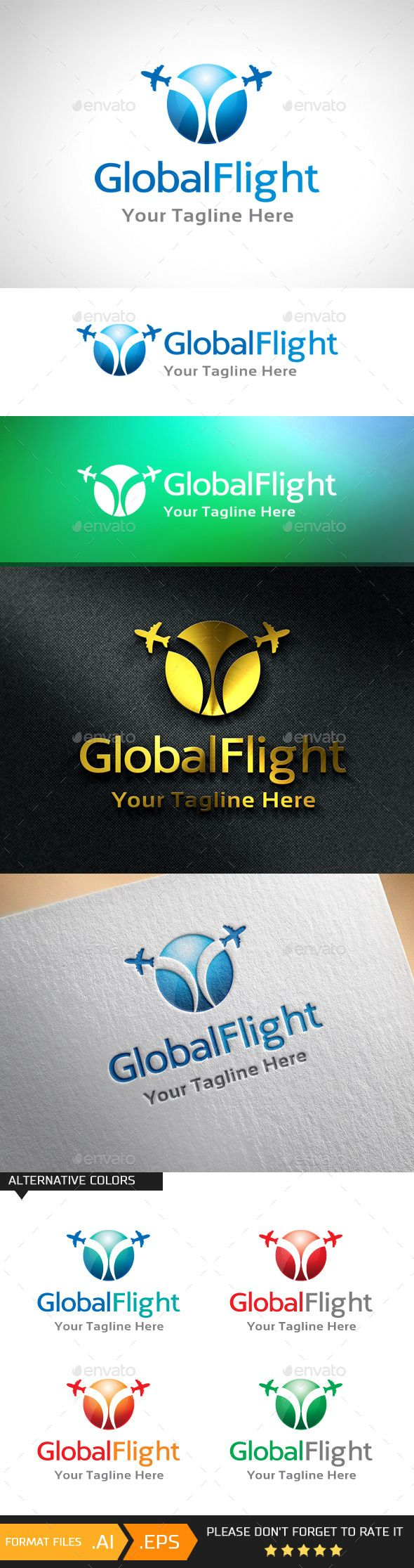 Global Flight Logo Template (AI Illustrator, Resizable, CS3, air, aircraft, airplane, app, application, computer, destination, flight, global, info, information, journey, location, logo, maps, mobile, online, phone, plane, point, resort, software, spot, ticket, tickets, travel, traveler, trip, tropical, vacation)
